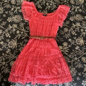 My Michelle Peach Lace Dress BELT INCLUDED!!